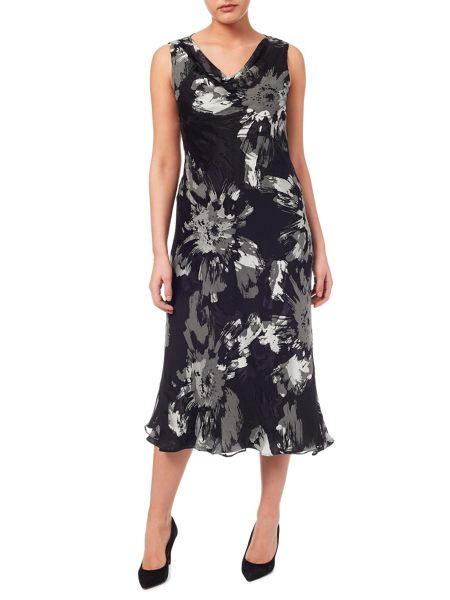 Windsmoor Floral Burnout Cowl Neck Dress