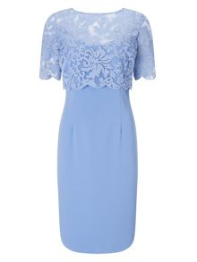 Jacques Vert Embroidered Layer Crepe Dress