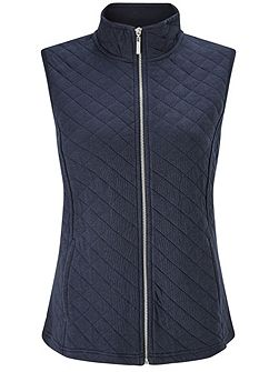 Navy Ribside Interlock Gilet