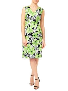 Precis Petite V Neck Cotton Sateen Dress