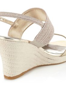 Jacques Vert Canvas And Metallic Strap Shoe