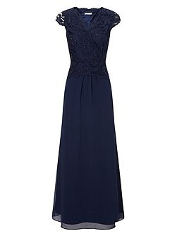 Lace Cross Bodice Maxi Gown