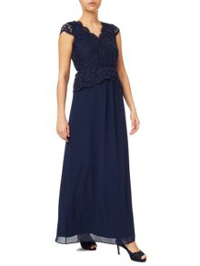 Jacques Vert Lace Cross Bodice Maxi Gown