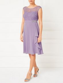 Jacques Vert Lace Overlayer Drape Dress