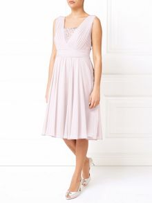 Jacques Vert Pleat Detail Lace Insert Dress