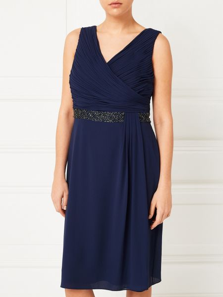 Jacques Vert Side Pleat Embellished Dress