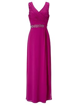 Side Pleat Embellished Gown