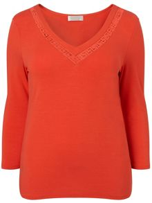 Windsmoor Clementine Cutwork Jersey Top