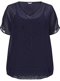 Navy Cutout Detail Top