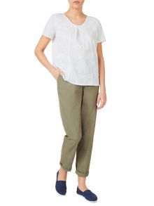 Dash Embroidered V Neck Shell Top