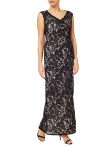 Jacques Vert Embellished Lace Maxi Gown