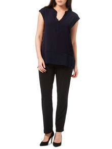 Windsmoor Navy Textured Sheer Mix Top