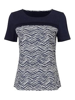 Printed Woven Mix Jersey Top