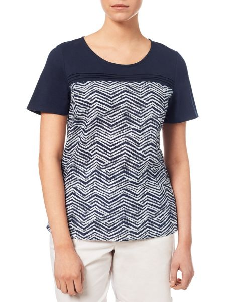Dash Printed Woven Mix Jersey Top