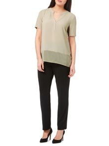 Windsmoor Truffle Textured Sheer Mix Top