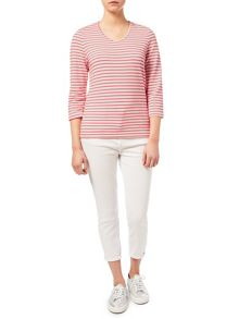 Dash Textured Coral Stripe