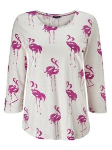 Dash Flamingo Print Pink Top