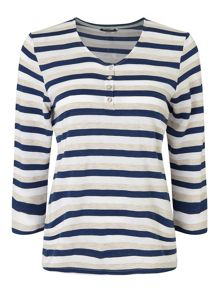Dash Navy Textured Stripe Top