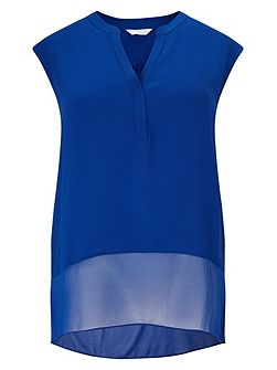 Cobalt Textured Sheer Mix Top