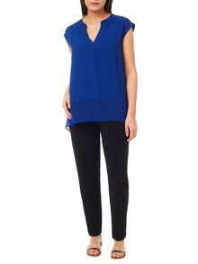 Windsmoor Cobalt Textured Sheer Mix Top