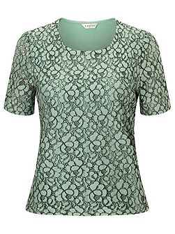 Lace Front Jersey Top
