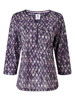 Etched Diamond Print Blouse