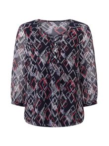 Dash Diamond Print Blouse