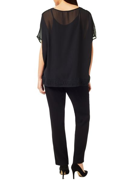 Windsmoor Black Cutout Detail Top