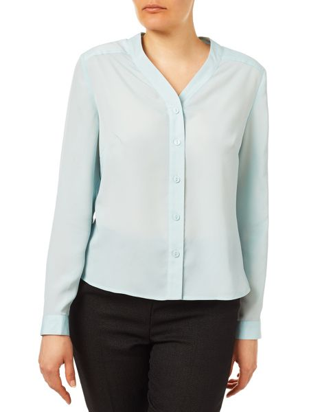 Eastex Long Sleeve Collarless Blouse