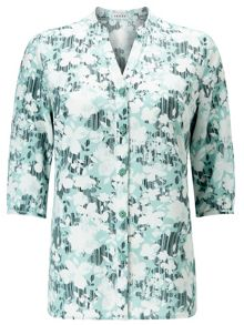 Eastex Linear Floral Buttonup Tunic