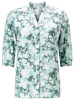 Linear Floral Buttonup Tunic