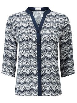 Contrast Tipped Zig Zag Blouse