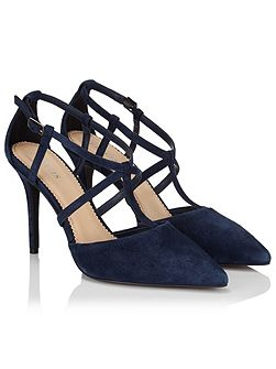 Navy Suede Pointed Court