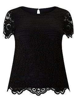 Black And Oyster Lace Top