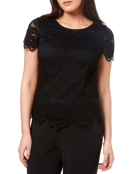 Windsmoor Black And Oyster Lace Top