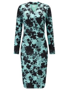 Eastex Linear Floral Jersey Dress