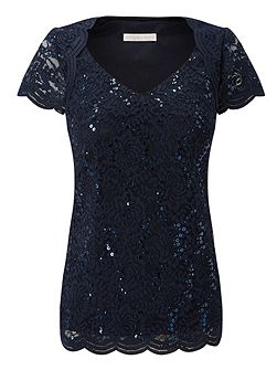 Jersey Stretch Sequin Top