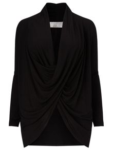 Windsmoor Black Drape Front Top