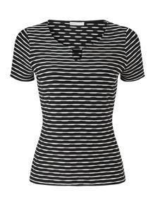 Jacques Vert Black And White Textured Top