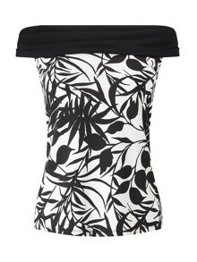 Jacques Vert Tropical Mono Print Top