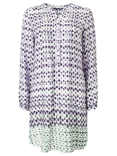 Dash Border Print Tunic Dress