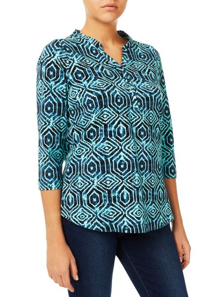 Dash Aqua Tile Print Jersey Top