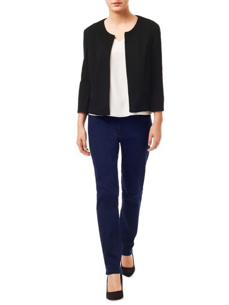 Precis Petite Casual Black  Ribbed Jacket