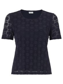 Eastex Circle Lace Scoop Neck Top