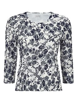 Printed Lace Scoop Neck Top