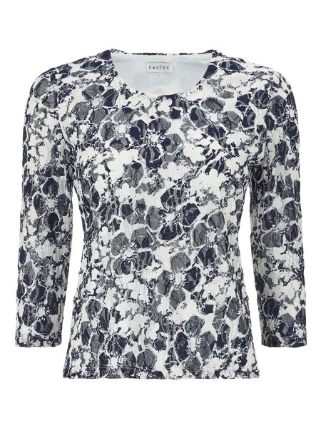 Eastex Printed Lace Scoop Neck Top