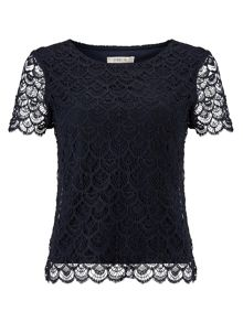 Precis Petite Navy Scallop Lace Top