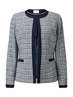 Contrast Tipped Tweed Jacket