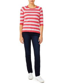 Dash Coral And White Stripe Jumper