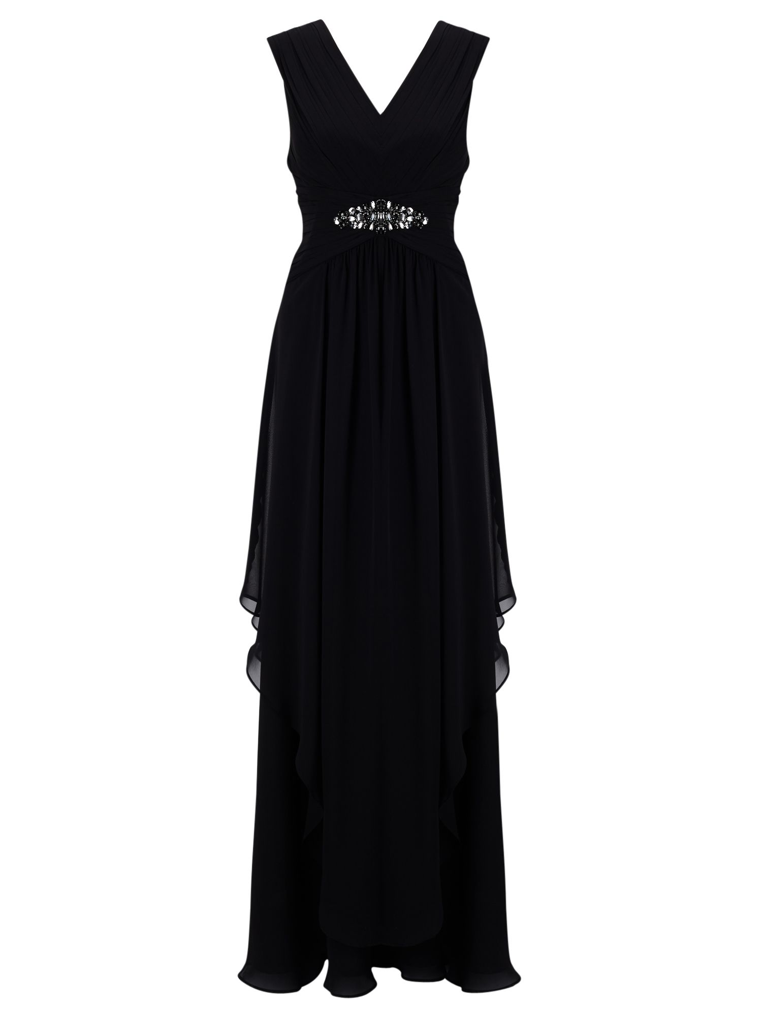 TitanicStyleDressesforSale Jacques Vert Maxi Hanky Hem Dress Black £99.00 AT vintagedancer.com